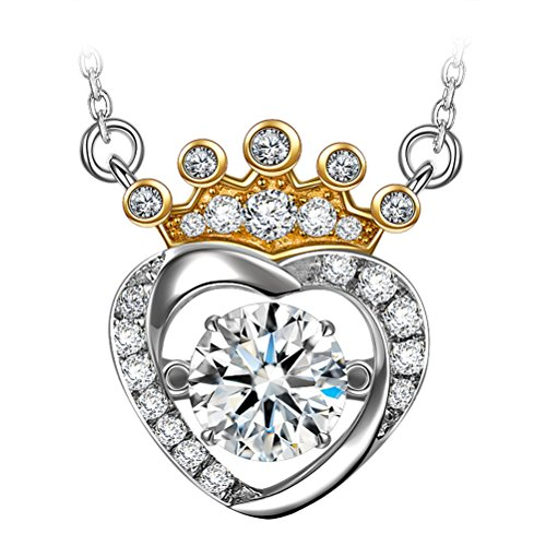 DANCING HEART Necklace Crown Necklace for Girls Necklaces 925 Sterling Silver Necklace for Women Pendant Swarovski Necklace Jewelry for Women Necklace Gifts for her ()