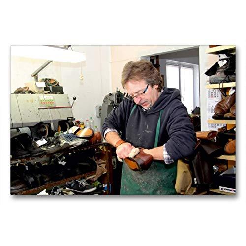 CALVENDO Toile Textile de qualité supérieure de 90 cm x 60 cm - La Chaussure est brossée - Image Murale sur châssis - Impression sur Toile véritable - Motif : Schuster Homme