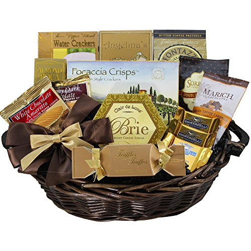 Classic Gourmet Food and Snack Gift Basket, Medium (Chocolate Option) (Wine And Chocolate Hampers)
