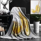 """Nalagoo Unique Custom Flannel Blankets Thai Durian Portion Isolated On White Background Super Soft Blanketry for Bed Couch, Throw Blanket 40"""" x 60"""""""