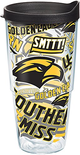 Tervis 1267943 Southern Miss Golden Eagles All Over Tumbler with Wrap and Black Lid 24oz, Clear