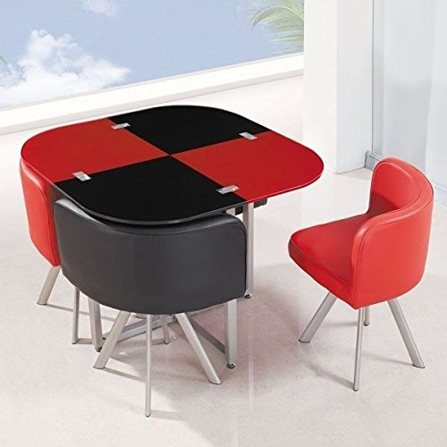 Joy S Furnitures Dining Set 1 4 In Red And Black Color Amazon In Furniture