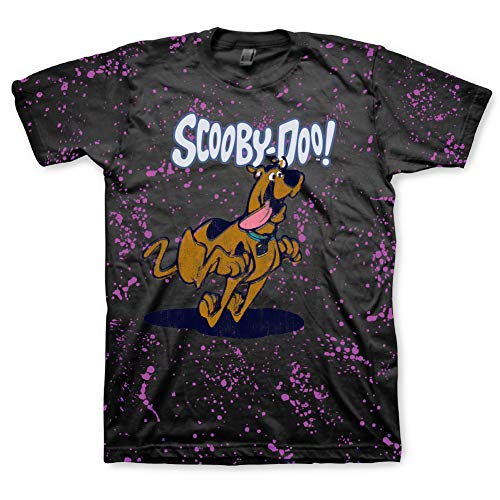 Scooby Doo Mens Throwback Shirt, Shaggy, Velma Tee - Throwback Classic T-Shirt (Black Splatter, X-Large) -