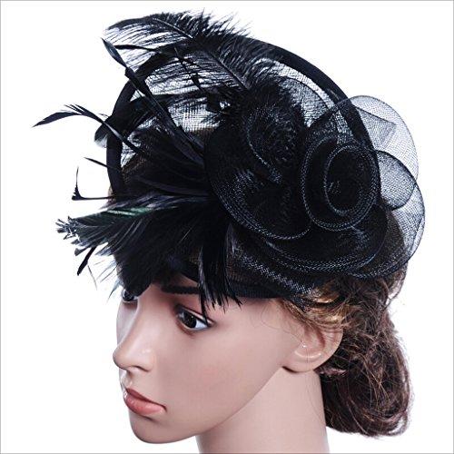 Fei Fei FEI Sombreros nupciales Plumas de avestruz Sombreros de fiesta de  tocado de lino Sombreros 371e129c0912