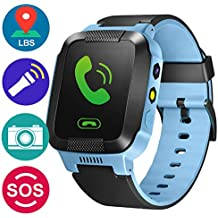 GBD GPS Tracker Kids Smart Watch for Children Girls Boys Holiday Birthday Easter Gifts with Camera SIM Calls Anti-lost SOS Smartwatch Bracelet for iPhone Android Smartphone (BlueBlack)