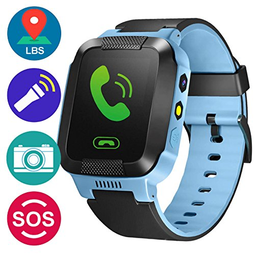 GBD GPS Tracker Kids Smart Watch for Children Girls Boys Holiday Birthday Gifts with Camera SIM Calls Anti-lost SOS Smartwatch Bracelet for iPhone Android Smartphone (BlueBlack)
