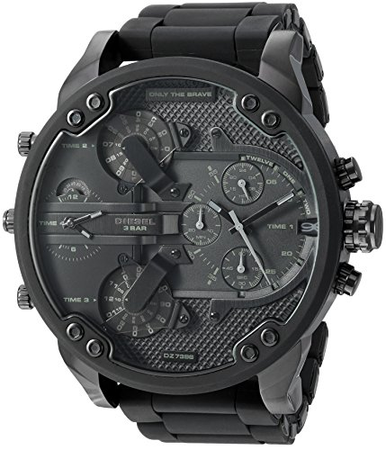Diesel Men's Mr Daddy 2.0 Quartz Stainless Steel and Silicone Chronograph Watch, Color: Black (Model: DZ7396)
