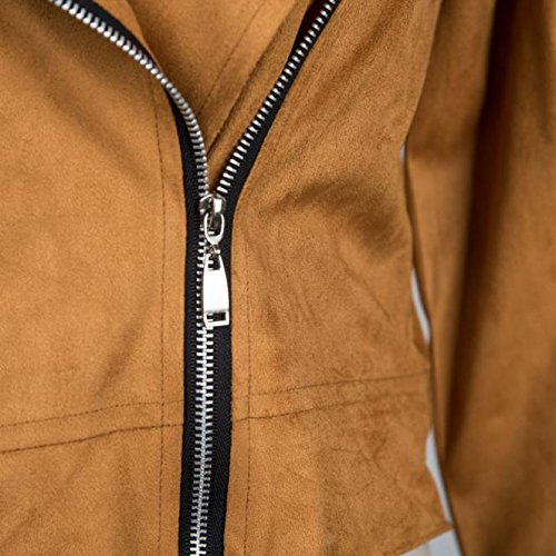 Slim Moto Femmes LHWY Hiver Sexy en Manteau Marron Zipper Cuir Veste Moto qxfdtXwd