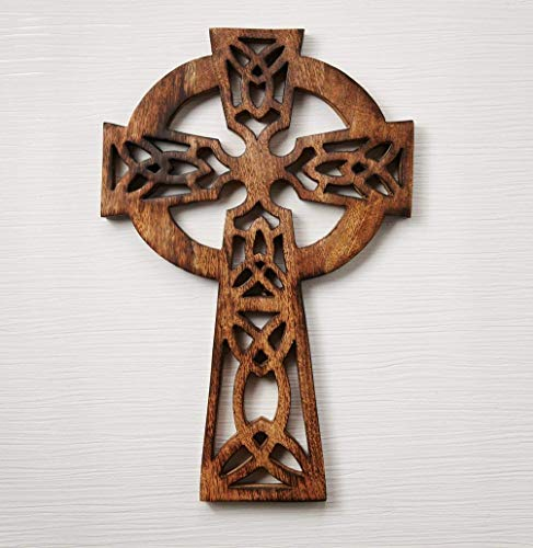 Eximious India 18 Inches Decorative Crucifix Wooden Wall Cross Art Plaque Handmade for Church Or Home Décor (Celtic 18X12) -