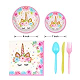 Unicorn Party Supplies Set & Tableware Kit,Serves