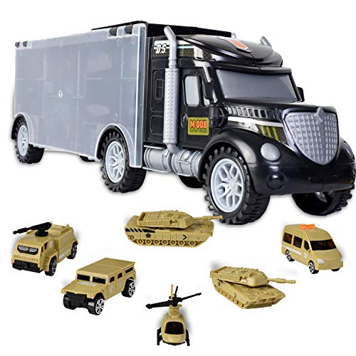 WolVol Military Transport Car Carrier Truck Toy with Army Battle Cars & Choppers Toys Inside - Great Toy for Kids Who Love Action and - Chopper Car Truck