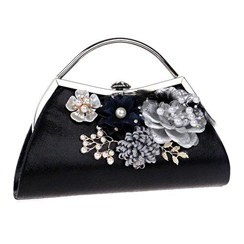 Flowers 23 5cm 5 Dinner £¬ Wedding X Handbag Crystals 5 Party NVBAO Black X Evening 17 Pearl Bags Womens 5 EqBwCB