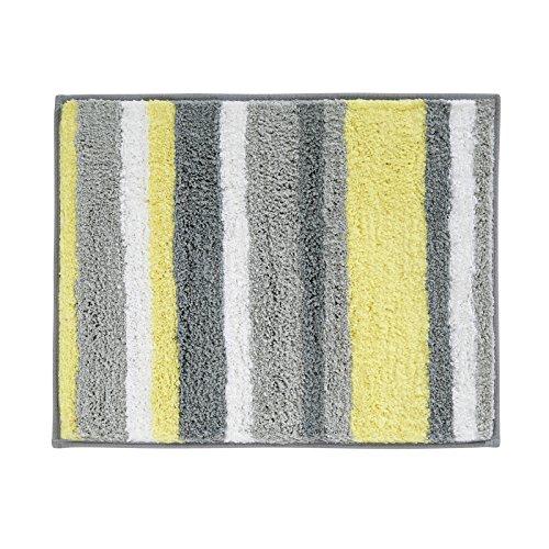 MDesign Striped Microfiber Non-Slip Bathroom Mat/Rug For