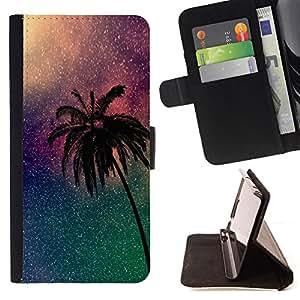 """For HTC One A9,S-type Estrellado cielo nocturno Estrellas Universo de Palm"""" - Dibujo PU billetera de cuero Funda Case Caso de la piel de la bolsa protectora"""