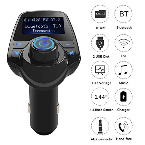 (YUSHHO56T Car FM Transmitter Car Radios & Accessories Adapter T11 Car LCD Bluetooth MP3 Player FM Transmitter Hands-free Dual USB Charger)