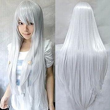 HuaYang señoras Sexy recta larga peluca Cosplay Pelucas de vestuario (plata)