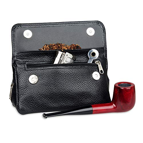 Tobacco Zipper Pouch (Genuine Leather Smoking Tobacco Pipe Pouch Case Bag For 2 Pipes Tamper Filter Tool Cleaner Preserve Freshness (BLACK))
