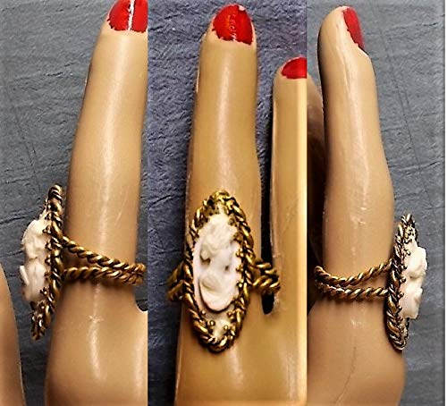 Vintage Shell - 1 Vintage Shell CAMEO RING, Large Hand Carved Portrait w/Diadem, Ornate Marquise West Germany Brass Vintage Adjustable Ring OOAK Only