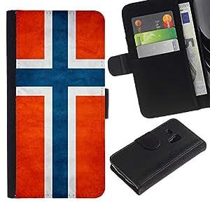 NAVY*COLLECTION (No Para S3 i9300) Bandera Nacional Foto CUERO RANURA TARJETA Funda Cover Case Voltear TPU Carcasas Protectora Para Samsung Galaxy S3 MINI I8190 I8190N - Noruega Noruega