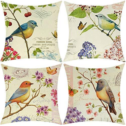Wilproo Outdoor Bird Decorative Throw Pillowcase, Bird Flower Both Sides Printed Spring Cushion Cotton Linen 18x18 Set of 4 Patio for Home Couch Sofa Decor ()