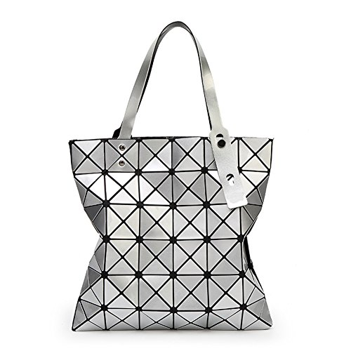 Mogor Women Hologram Geometric Split Joint Plaid Shoulder Handbag Silver