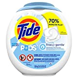 Tide PODS Free & Gentle Laundry Detergent, Unscented, 72 count, Designed for Regular