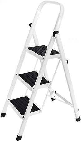 HYYDP Escaleras Plegables Blancas - Escalera de Aluminio escalones de Alta Escalera Escalera pequeña de 3 escalones con pasamanos: Amazon.es: Hogar