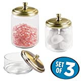3 jar vanity set - mDesign Bathroom Vanity Glass Apothecary Jars for Cotton Balls, Swabs, Cosmetic Pads - Set of 3, Clear/Soft Brass