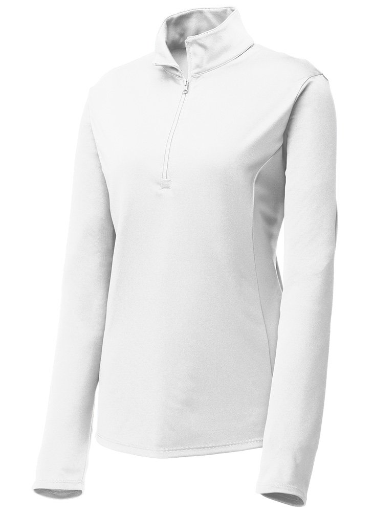 Joe's USA Dri-Equip Ladies Moisture Wicking 1/4-Zip Pullover-XL-White