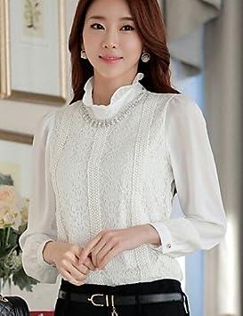 GSP-Camiseta deportiva para mujer cuello de encaje coreana manga larga poliéster white-m