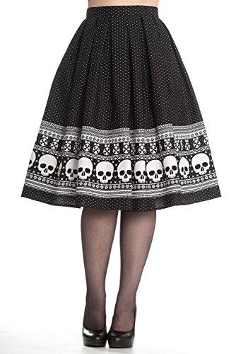 Hell Bunny Clara Rockabilly 50s Skull Skirt (XL) (Skirt Cotton Collection Tea)
