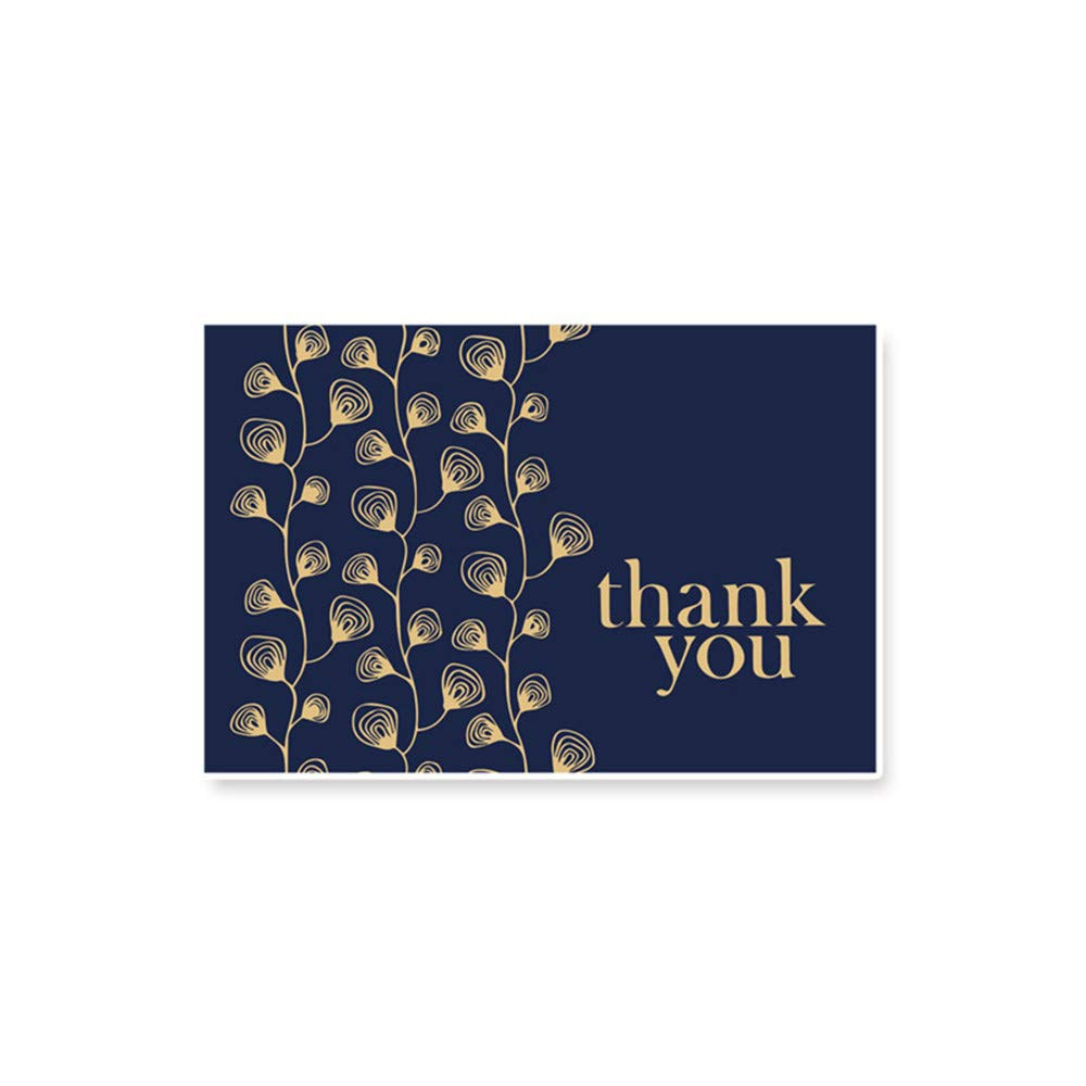 10PCS Thank You Card Navy Blue & Gold Blank Note Cards with Envelopes Luxury Retro Thank You Note Embossed with Golden Foil for Wedding Funeral Christmas Baby Shower (A) DaoAG