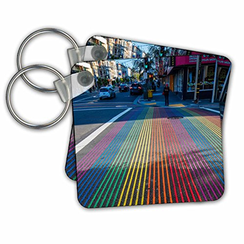 Danita Delimont - Cities - Rainbow street crossing, Castro District, San Francisco, California - Key Chains - set of 4 Key Chains - Street Sf Castro