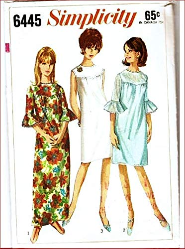 Simplicity 6445 Misses Shift Dress with Yoke and Sleeve Ruffles Vintage 60's Sewing Pattern Check Listings for ()