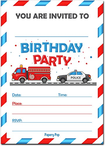 Birthday Invitations with Envelopes (15 Count) - Kids Birthday Party Invitations for Boys or Girls - Firetruck Police Fire Truck Vehicles
