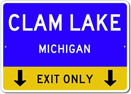 Blue Clam Aluminum (Clam Lake, Michigan US - This Exit Only - Custom City State Aluminum Street Sign - Blue - 12