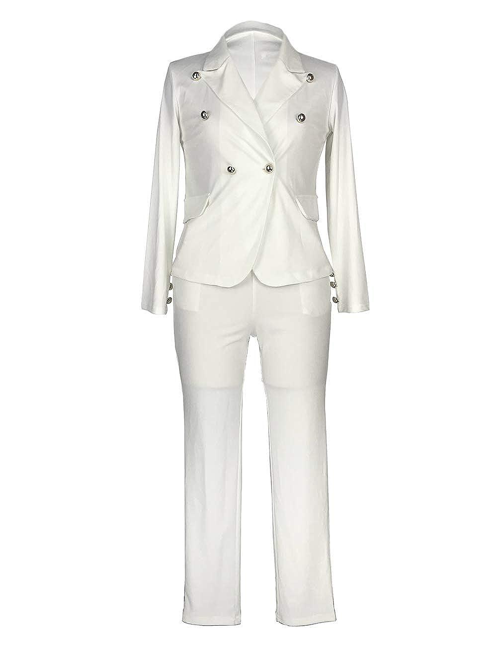 547e8eb0197a Amazon.com: Sematomala Women's 2 Piece Outfits Long Sleeve Black White  Elegant Business Office Lady Blazer Long Pant Suit Sets: Clothing