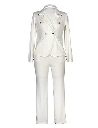 9a14b6ac5b Sematomala Women s 2 Piece Outfits Long Sleeve Black White Elegant Business  Office Lady Blazer Long Pant