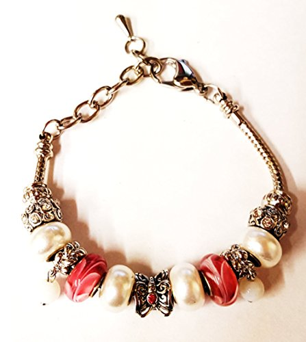 bella-perlina-collection-pandora-style-bracelet-9-snake-chain-interchangeable-beads-pink-butterfly