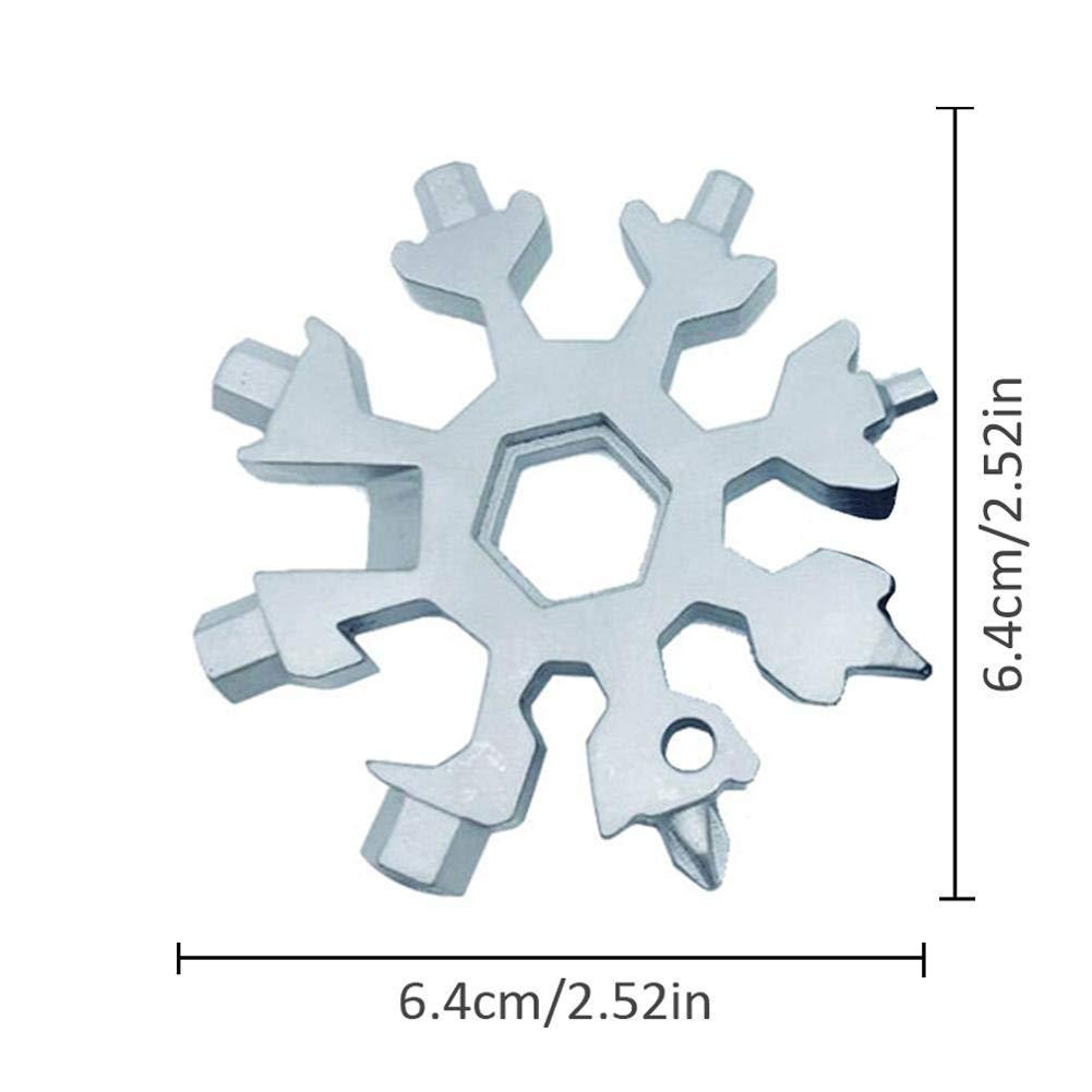 Mini attrezzo Multifunzione Snowflake Portatile cacciavite Apribottiglie Portachiavi Strumento Incredibile Anti-Perso Blu-ray-Residenz Multi attrezzo 18 in 1 in Acciaio Inox