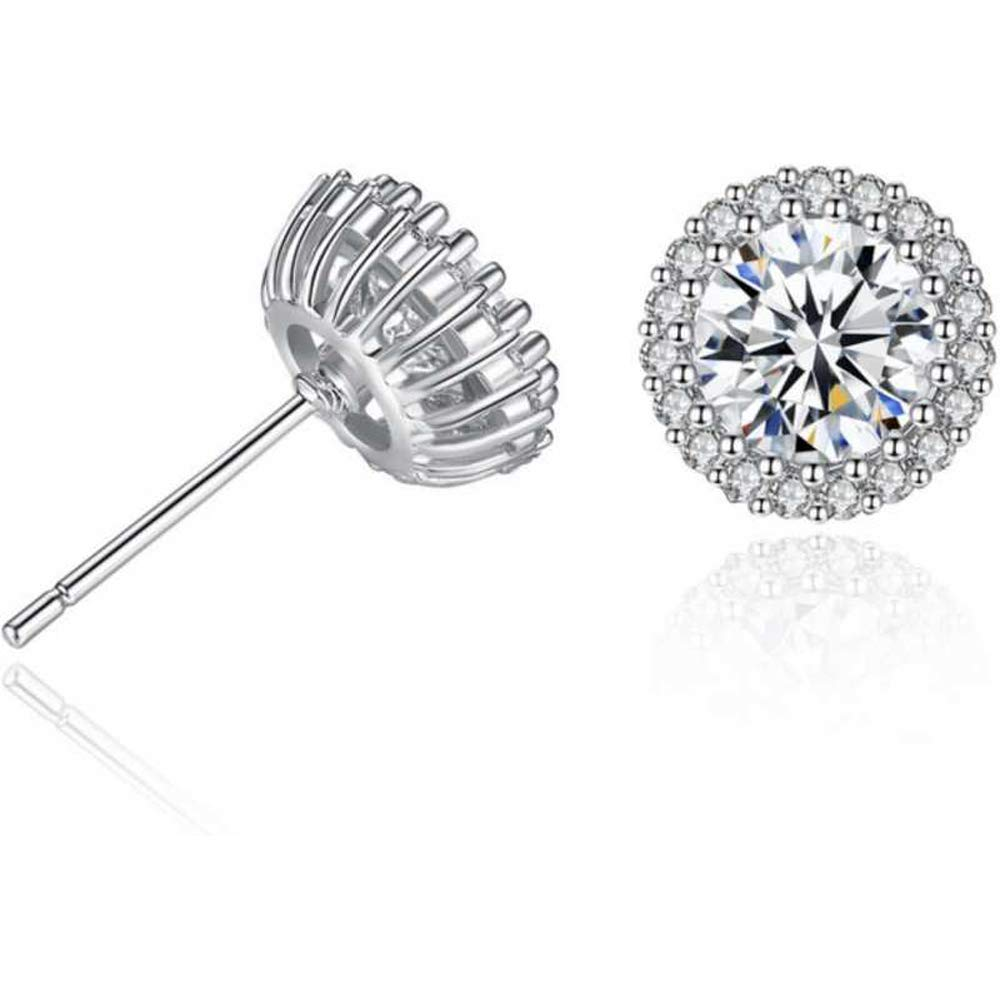 Round Cut Diamond For Women /& Girls .925 Sterling Silver Cluster Solitaire Stud Earring