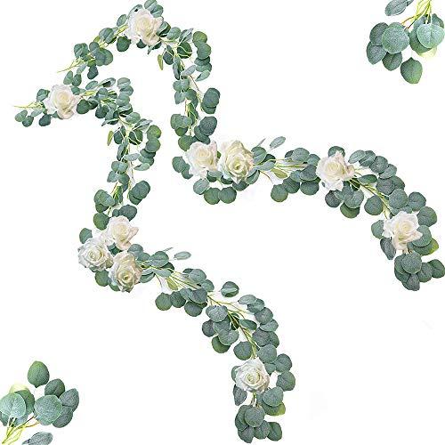 SUN-E Artificial Vines Silk Ivy Eucalyptus with Artificial White Rose Artificial Flowers Set for DIY Wedding Backdrop Arch Wall Outdoor Party Festival Decor Home Decorations (2PCS Vines & 10PCS Rose)]()