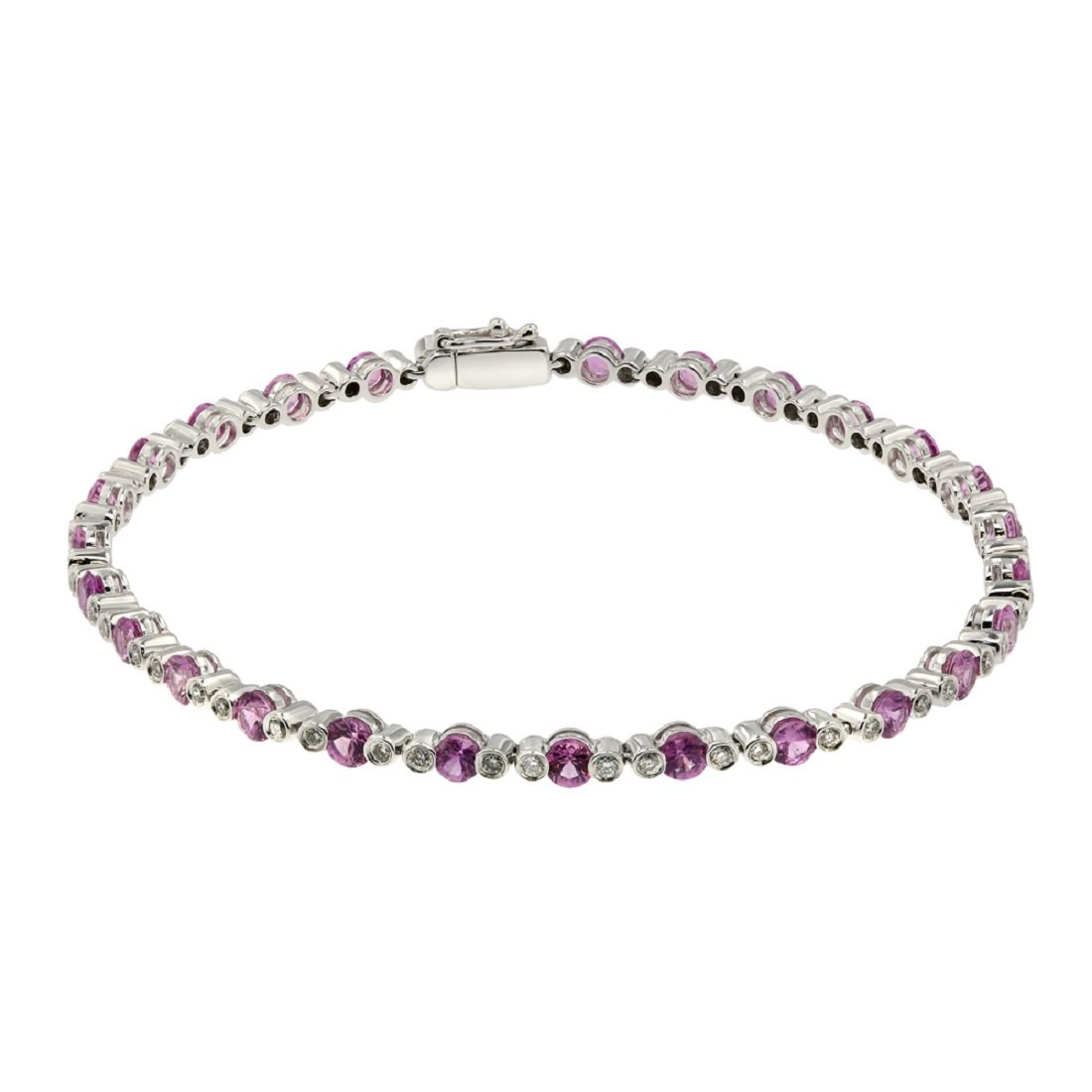 3.5 Carat Ruby, 0.5 Carat Diamond, Diamond Bracelet, 18K White Gold, Jewel Ivy 18K Bracelet with Ruby & Diamonds, Rare, Classy