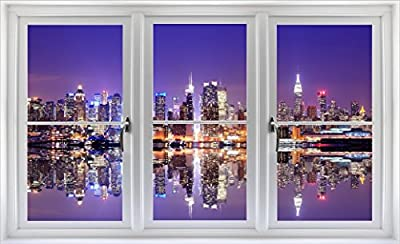 """24"""" Window Landscape Scene Instant City View NEW YORK CITY SKYLINE NIGHT #1 WHITE CLOSED Wall Sticker Room Decal Home Office Art Décor Den Mural Man Cave Graphic SMALL"""
