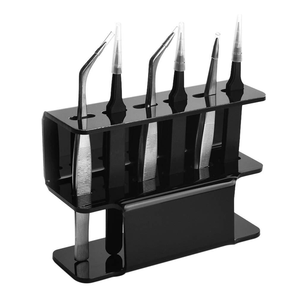 zroven Soporte de pinzas Extensi/ón de pesta/ñas Soporte de pinzas Pinzas de acr/ílico Soporte de estante Estante de almacenamiento para accesorios de herramientas de pinzas