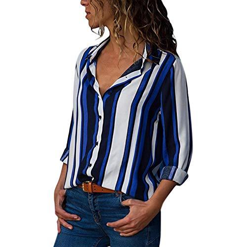 Longues Col Tendance Imprime V Blouse et Taille Casual Boutons Femme Elgant semen Fleurs Manches Bleu Chemisier Rayure Grande Ray Top cEBq88WX1