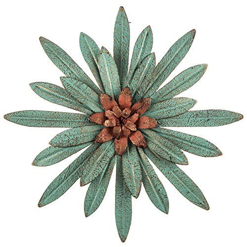 Everydecor Distressed Turquoise with Red Center Metal Flower Wall Decor (Metal Flowers Wall For)