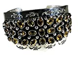 .925 Sterling Silver Citrine Cluster Cuff Navajo Native American Handcrafted