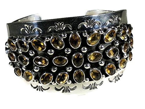 .925 Sterling Silver Citrine Cluster Cuff Navajo Native American Handcrafted by Chaco Canyon Couture