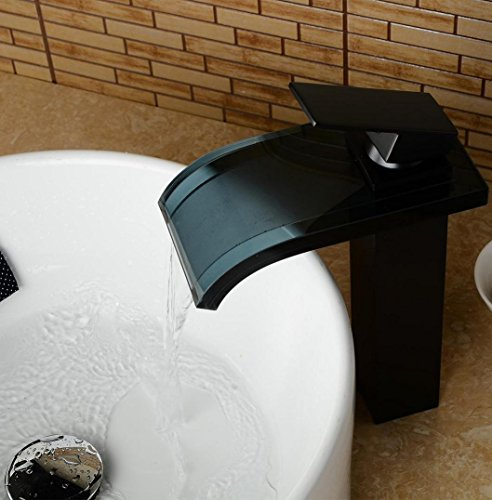 YanCui@ Modern home faucet Black Tempered Glass Waterfall Spout Bathroom Sink Faucet Antique Oil Rubbed Bronze Basin faucet (Tempered Manufacturers Glass)